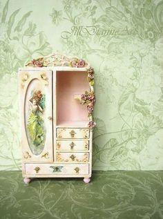 Reserved for Tammara - Pink Fairy Rose French Chifferobe Armoire - Hand-painted Cottage Shabby chic - Jill Dianne Dollhouse Miniatures