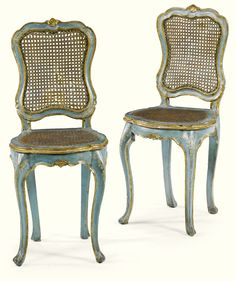 A pair of blue and white lacquered, parcel-gilt and caned chairs, Venetian, mid c. Compact Table And Chairs, Shabby Chic Table And Chairs, French Furniture, Antique Furniture, Furniture Upholstery, Painted Chairs, Painted Furniture, French Daybed, French Style Homes