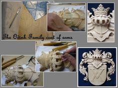 Familiewapen ODINK in hout   Heraldisch beeldhouwwerk in hout    Familie ODINK
