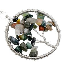 Tree of life color Wire Wrapped Chip Semi precious stone Necklace Pendant ,Silver Brass finding with chip gem stone  1PC