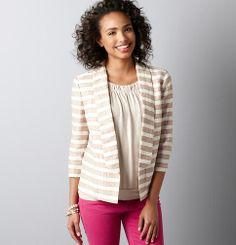 Petite Crinkle Stripe Open Front Jacket | Loft
