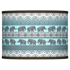 Elephant March Giclee Lamp Shade 13.5x13.5x10 (Spider)
