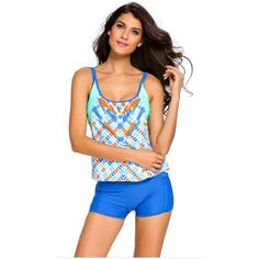 swimwear women tankini swimsuit hot sale 2017 summer beach Stripes Top Briefs and Shorts Print Bathing Suit 2 Pieces Sets 41990
