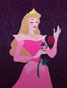 Princess Aurora the Sleeping Beauty in pink with her beautiful red rose