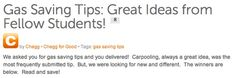 Gas saving tips: Great ideas from fellow students! (via www.blog.chegg.com)