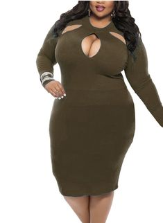 Women Spring Long Sleeve Plus size Sheath Dress Vestidos Robe Round Neck Sexy Hollow out Solid Color Bodycon Dresses Sexy Dresses, Club Dresses, Cheap Dresses, Plus Size Dresses, Dresses With Sleeves, Bandage Dresses, Midi Dresses, Night Out Outfit Clubwear, Club Outfits Clubwear