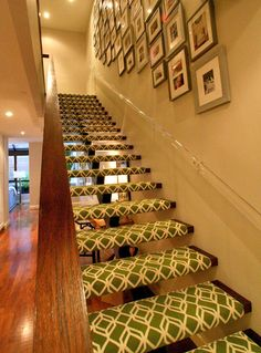 patterned stairs. This looks so cool. Quirks up the modern simplicity of the open staircase... Plus Look at all those photos!!