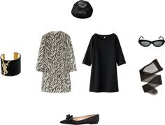 Outfit Uniqlo print dress, Etro zebra coat /Lingerie stocking, / Manolo Blahnik flat shoes / Givenchy snapbacks hat, / Conservatoire International De Lunettes cat eye sunglasses