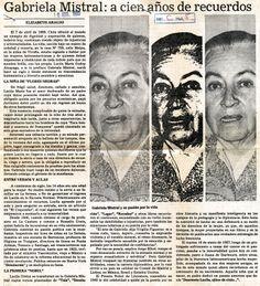 """""""Gabriela Mistral: a cien años de recuerdos"""" Publicado el 10 de abril de 1989"""