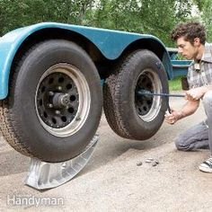 Lift your trailer wheel by pulling it onto these jacks. It's quick and easy. No moving parts.