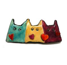 Winter tones cat brooch Pastel little cats pin with by Chifonie