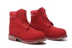 Timberland 6 inch boots in red with camouflage  sole
