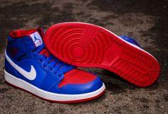 "Air Jordan 1 Mid ""Pistons"" - ""Game Royal/Gym Red/White"""