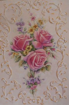 Rose painting with hand made ornamental work