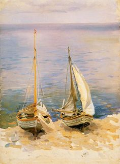 Two sailing boats - Ferdynand Ruszczyc Oil on canvas. Maritime Museum in Gdansk. Boat Sketch, Nathaniel Hawthorne Quotes, Sailboat Painting, Maritime Museum, Great Paintings, Art Database, Painting Lessons, Les Oeuvres, Sailing Ships