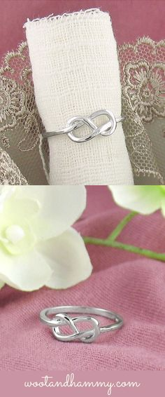 this simple infinity ring is an elegant twist on the old classic.