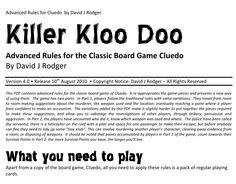 Killer Kloo Do by David J Rodger - alternate RPG cluedo game rules