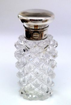 VERY FINE MID VICTORIAN HOB NAIL SILVER TOPPED SCENT BOTTLE FREDERICK BRASTED 1860