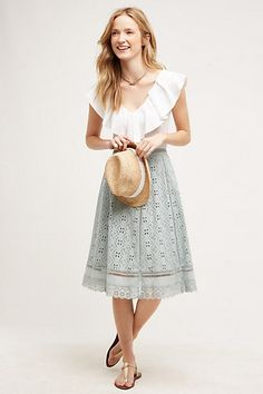 Love that top tucked in!  and of course the midi skirt. Catriona Midi Skirt #anthropologie
