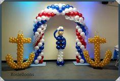 Rosielloons Nautical Birthday Cakes, Nautical Party, Nautical Mile, Navy Party, Homecoming Decorations, Balloon Decorations, Balloon Columns, Balloon Arch, Ballon Backdrop