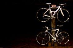 Rail Yard Studios | Custom-made industrial style bike rack from century old railroad materials.