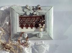 Jewelry Organizer/ Flowers Frame Jewelry Holder/ by NataNatastudio