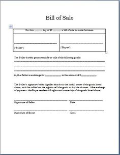 Basic Bill Of Sale Form  Printable Blank Form Template  Blank