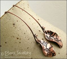 Antiqued copper earrings with flower charms and long feature earwires - Hand Crafted Jewellery by Boo - original jewellery in copper, bronze and Sterling silver