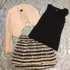 3 piece outfit Gap, Mossimo, Merona 3 piece outfit Gap, Mossimo, Merona. Gap black and cream skirt size 4 new with tags. Merona black size small top with ruffle detail (necklace not included). Mossimo cream crop jacket size xs. Excellent condition! GAP Tops
