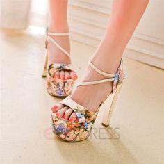 Ericdress Floral Print Stiletto Heel Sandals Chunky Sandals