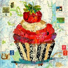 Nancy Standlee Art Blog: Painted Paper Collage Painting ~ California Cupcake 12078 ~ Collage Workshop by Texas Contemporary Collage Artist Nancy Standlee
