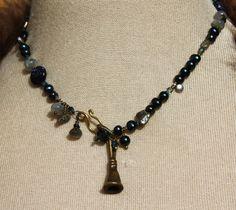 Fiestas de Santa Fe Necklace - Navy Pearls, sapphire, pyrite, laborite, vintage elements         175    Navy Pearls, sapphire, pyrite, laborite, vintage elements