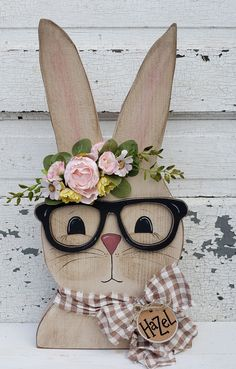 Hazel the Bunny with Glasses Pattern Bunny Crafts, Dyi Crafts, Wood Crafts, Hanger Crafts, Rabbit Crafts, Diy Easter Decorations, Decorating For Easter, Easter Projects, Hoppy Easter
