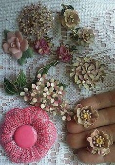 Vintage brooch and earrings lot enamel rhinestone flower wearable