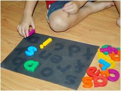 SUN BLEACH PUZZLE - Awesome idea for preschoolers and struggling students. This could be done with shapes and soooo many other things!  1) Put letters on black construction paper. (The cheap kind works better.)  2) Set out in the sunlight for a day.   3) Remove letters and laminate if desired.