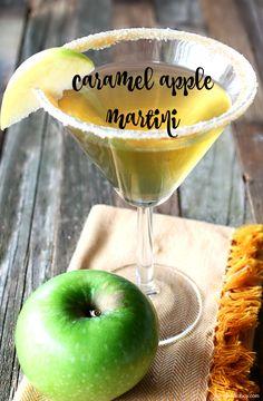 caramel-apple-martini-drink-cocktail-recipe-for-fall - Wildly Charmed Caramel Apple Martini, Caramel Vodka, Caramel Apples, Vodka Recipes, Martini Recipes, Cocktail Recipes, Alcohol Recipes, Caramel Apple Drink Recipe, Bacardi Drinks