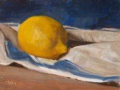 daily painting titled Lemon on a French cloth - click for enlargement