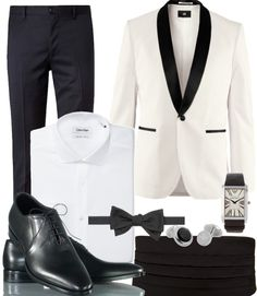 #DressWell Luxury black tie event | White jacket with black shawl lapels life-style-andlifestyles:   mrmoderngentleman: A 50s classic turned modern and very smart. The white tuxedo jacket/black silhouette fit trouser combo is brilliant. This is not for a first date, rather a night in high society.