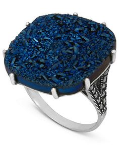 Genevieve & Grace Sterling Silver Ring, Blue Druzy and Marcasite Square Ring - Rings - Jewelry & Watches - Macy's #divorcering: #trashthedress #divorce