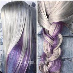 Peekaboo amethyst in icy white hair - hair - Lilac Hair Purple Peekaboo Hair, Purple Blonde Hair, White Ombre Hair, Purple Hair Highlights, Ombre Blond, Ombre Hair Color, Hair Color For Black Hair, Cool Hair Color, White Blonde
