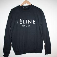 FELINE MEOW brian lichtenberg BLTEE sweatshirt top BLACK Streetwear Kardashian L #Brianlichtenberg #SweatshirtCrew
