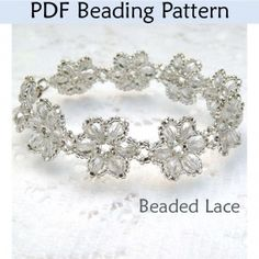 Beading Tutorial Pattern Bracelet - Beginner Jewelry Making - Simple Bead Patterns - Lovely Lattice Lace Bracelet, Beaded Bracelet Patterns, Flower Bracelet, Jewelry Patterns, Beading Patterns, Beaded Bracelets, Pdf Patterns, Embroidery Patterns, Mosaic Patterns