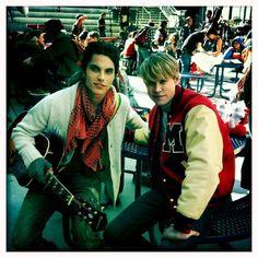 Samuel Larsen on the set of Glee!! :D