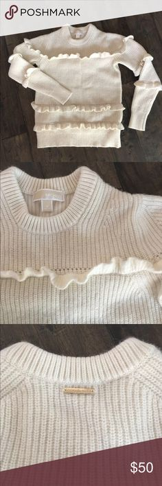 Michael Kors Ruffle Sweater LIKE NEW!!! Worn only once. Off-white with ruffles. Lambs wool and cashmere blend. Current season. Regular price $225. MICHAEL Michael Kors Sweaters Crew & Scoop Necks