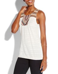 Lucky Brand fringe embroidered top.  58/42 COTTON VISCOS<br />100% COTTON (WOVEN)<br />
