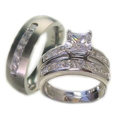 3 Pieces His & Her 925 Sterling Silver White Gold Plated & Titanium Matching Engagement Wedding Bridal Ring Set. Available Sizes (Men's 8-13); (Women's Set: 5-11) Whole & Half Sizes. Please Email Us with Your Sizes.