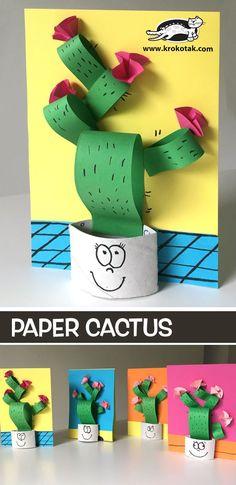 Paper+Cactus lama kunst, toddler crafts, preschool crafts, paper crafts for kids Easy Paper Crafts, Paper Crafts For Kids, Diy Paper, Projects For Kids, Paper Crafting, Diy For Kids, Fun Crafts, Diy And Crafts, Kids Fun