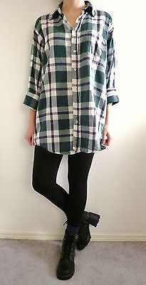 VTG 90s Grunge Green Purple Plaid FLANNEL Shirt Seattle Oversized Boyfriend Sz L