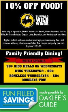 Buffalo Wild Wings has a great kid friendly vibe! Daddy gets sports, Mommy gets wings, kids get entertained! Local Coupons, Buffalo Wild Wings, Chicago Area, Family Activities, Friends Family, Saving Money, Things To Do, Places To Go, How To Apply