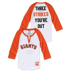 Victoria's Secret San Francisco Giants Henley Baseball Tee ($20) found on Polyvore featuring tops, t-shirts, 3/4 sleeve baseball t shirt, henley baseball tee, sequin baseball tee, henley tee and henley t shirt